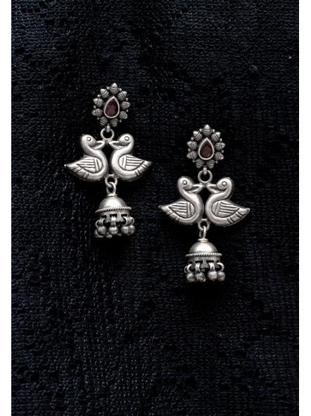 92.5 Pure Silver Stud Base Duck Jhumka Earring-LAA-ER-112