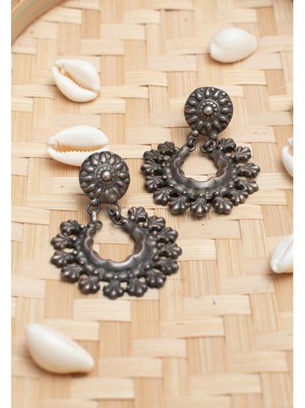 92.5 Pure Silver Stud Chandbali  Earring-1