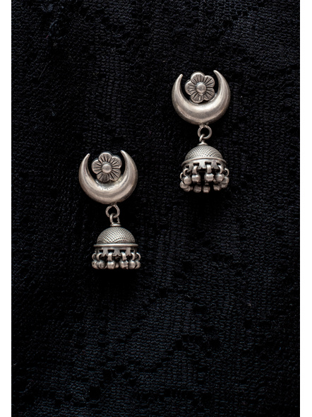 92.5 Pure Silver Designer Jhumka with Floral Crecent Stud Earring-LAA-ER-121