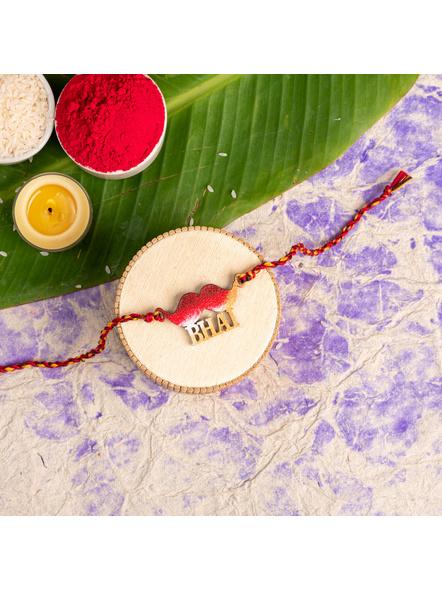 Handmade Designer Red Golden Moustache Bhai Rakhi with Roli Chawal-LAA-RK-45