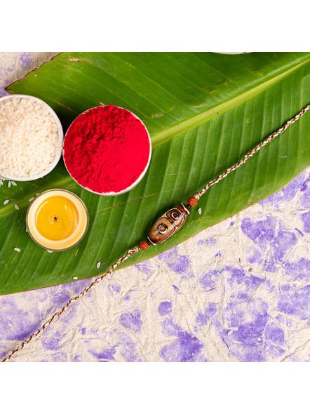 Designer Brown Acrylic Rudraksh Rakhi with Roli Chawal-LAA-RK-48