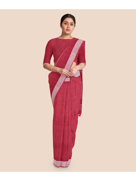 Bhagalpuri Red Cotton Linen Saree with Silver Zari Border-LAABPLC004
