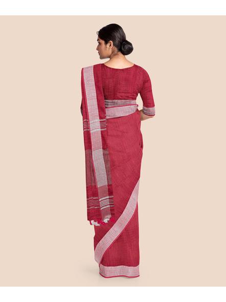 Bhagalpuri Red Cotton Linen Saree with Silver Zari Border-1