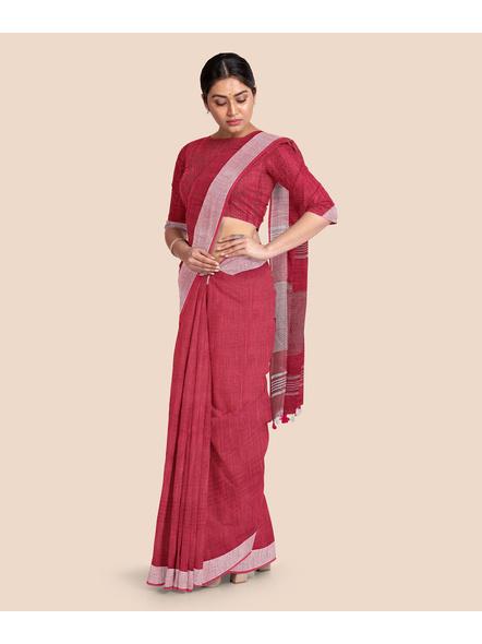 Bhagalpuri Red Cotton Linen Saree with Silver Zari Border-3