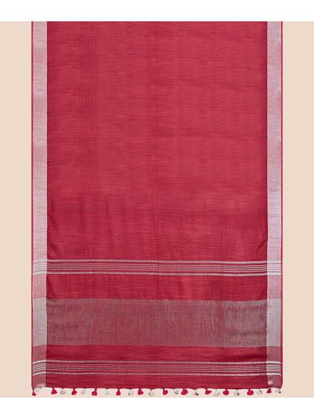 Bhagalpuri Red Cotton Linen Saree with Silver Zari Border-4