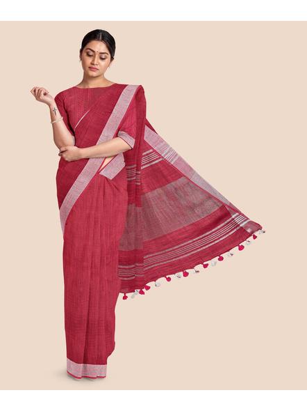 Bhagalpuri Red Cotton Linen Saree with Silver Zari Border-5