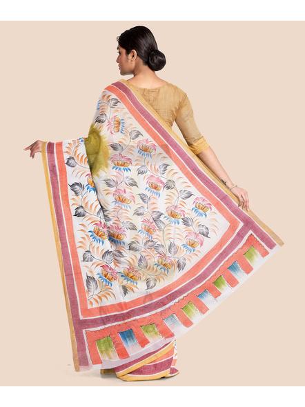 Pure Cotton Hand Painted Kasavu Saree-LAAKPCS001