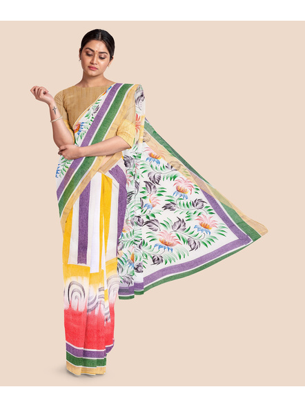 Pure Cotton Hand Painted Kasavu Saree-LAAKPCS002