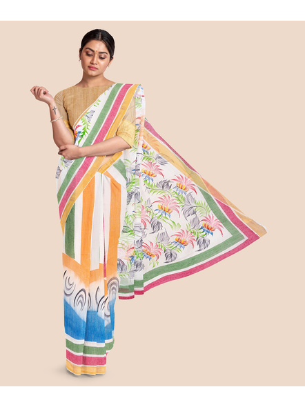Pure Cotton Hand Painted Kasavu Saree-LAAKPCS003