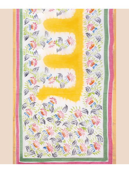 Pure Cotton Hand Painted Kasavu Saree-LAAKPCS008
