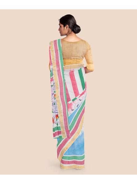 Pure Cotton Hand Painted Kasavu Saree-LAAKPCS009