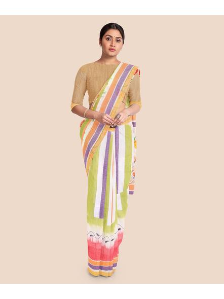 Pure Cotton Hand Painted Kasavu Saree-LAAKPCS012