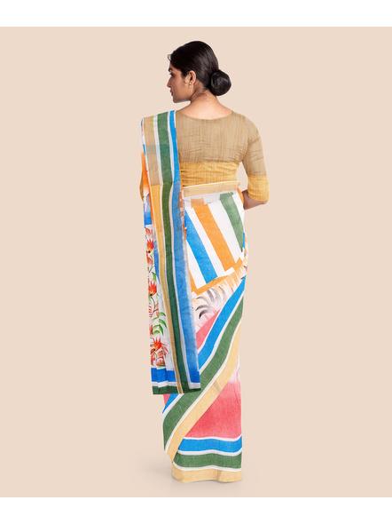 Pure Cotton Hand Painted Kasavu Saree-LAAKPCS016