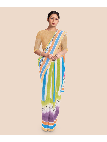 Pure Cotton Hand Painted Kasavu Saree-LAAKPCS018