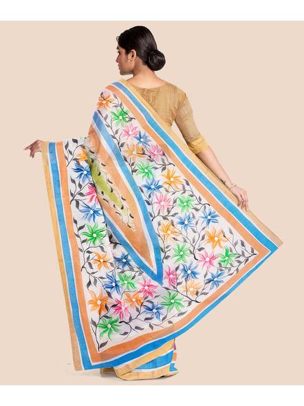 Pure Cotton Hand Painted Kasavu Saree-4