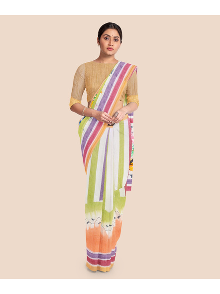 Pure Cotton Hand Painted Kasavu Saree-LAAKPCS022