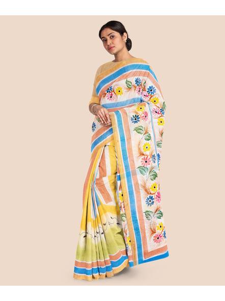 Pure Cotton Hand Painted Kasavu Saree-LAAKPCS023