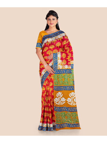 Red Yellow Tree Printed Soft Art Silk Saree with Blouse piece-LAAPSS004