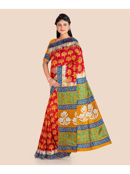 Red Yellow Tree Printed Soft Art Silk Saree with Blouse piece-1
