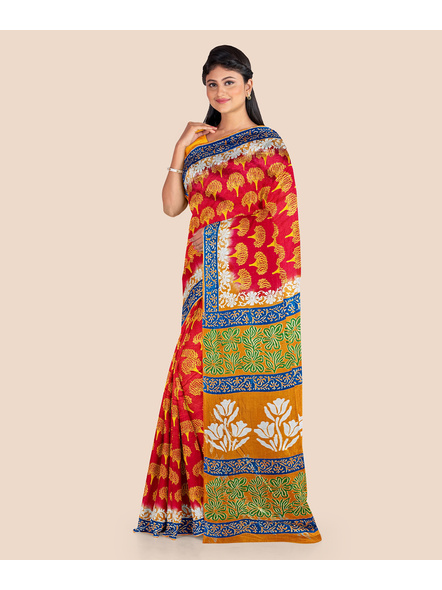 Red Yellow Tree Printed Soft Art Silk Saree with Blouse piece-2