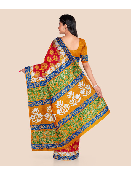 Red Yellow Tree Printed Soft Art Silk Saree with Blouse piece-4