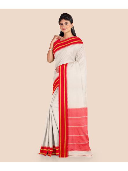 Garad Silk Blend Saree (Red White)-LAASGS001