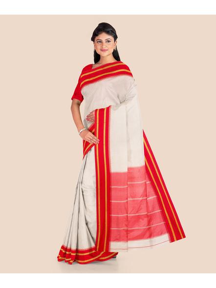Garad Silk Blend Saree (Red White)-1