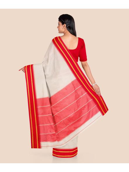 Garad Silk Blend Saree (Red White)-2