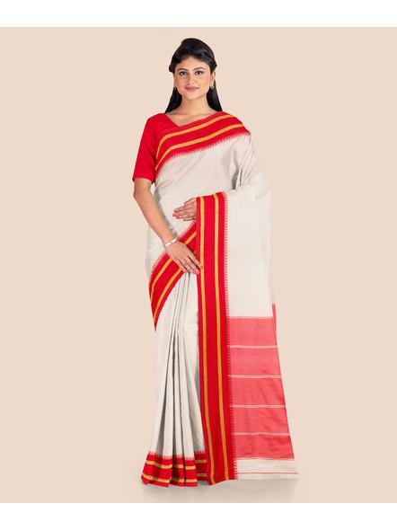 Garad Silk Blend Saree (Red White)-4