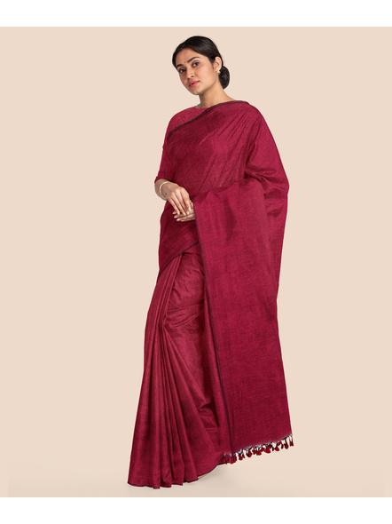 Wine Red Mercerized Handloom Khadi Cotton Saree with Blouse Piece-LAAMHCWBP002