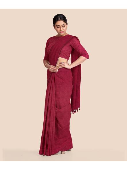 Wine Red Mercerized Handloom Khadi Cotton Saree with Blouse Piece-1