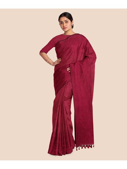 Wine Red Mercerized Handloom Khadi Cotton Saree with Blouse Piece-2