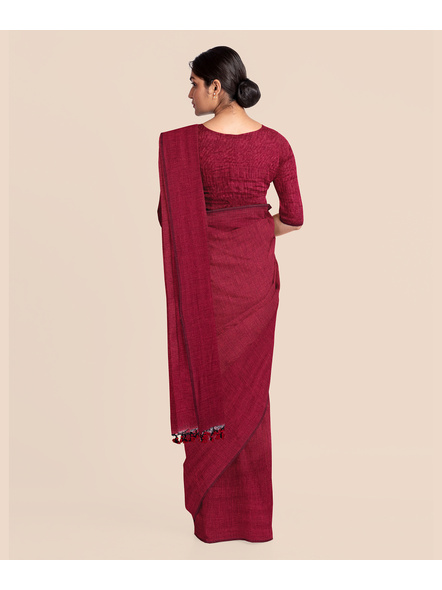 Wine Red Mercerized Handloom Khadi Cotton Saree with Blouse Piece-3