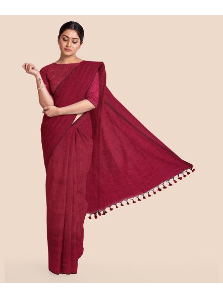 Wine Red Mercerized Handloom Khadi Cotton Saree with Blouse Piece-4