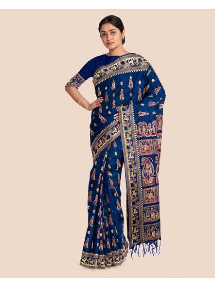 Baluchari Silk Blend Saree with Blouse Piece (Blue)-LAABASS004