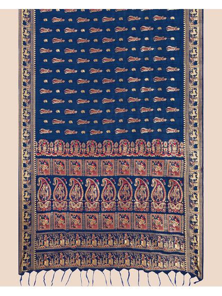 Baluchari Silk Blend Saree with Blouse Piece (Blue)-1