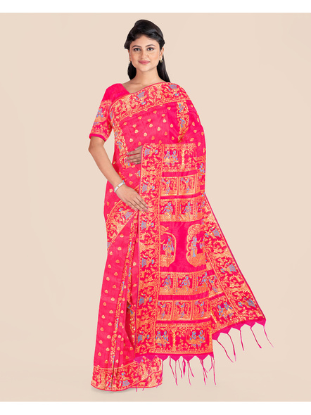 Baluchari Silk Blend Saree with Blouse Piece (Pink)-LAABASS005