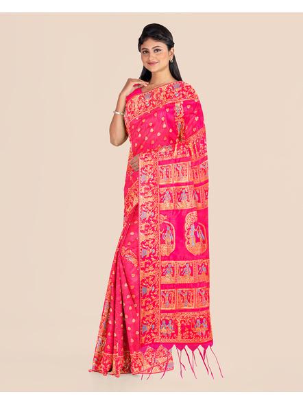 Baluchari Silk Blend Saree with Blouse Piece (Pink)-1