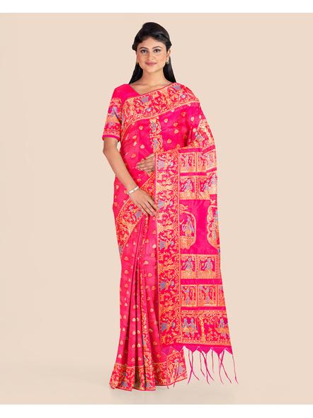 Baluchari Silk Blend Saree with Blouse Piece (Pink)-2