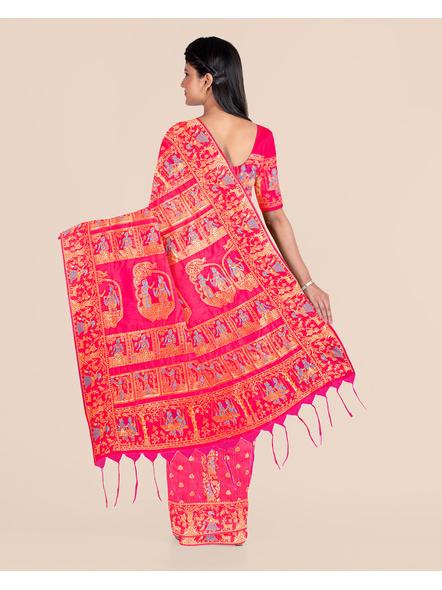 Baluchari Silk Blend Saree with Blouse Piece (Pink)-3