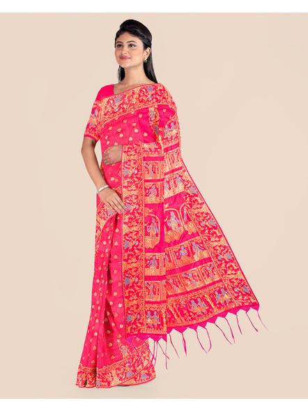 Baluchari Silk Blend Saree with Blouse Piece (Pink)-4