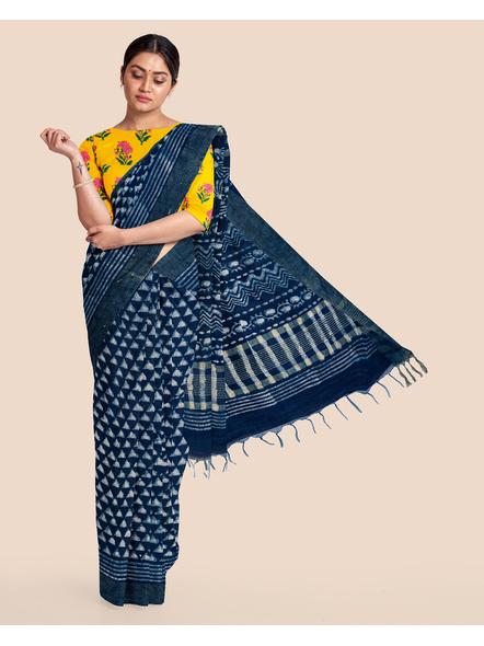 Bhagalpuri Handwoven Bhagalpuri Indigo Linen Saree with Blouse Piece-LAABILWBP003