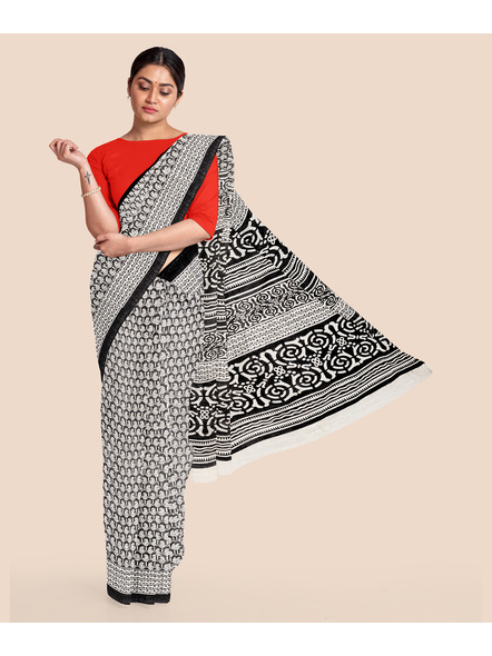Printed Cotton Saree without Blouse Piece-LAAPCS017