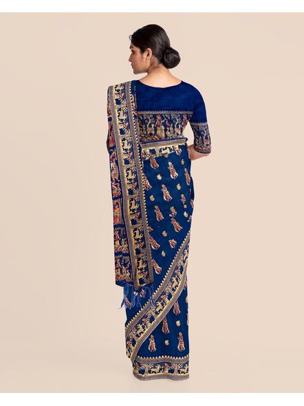 Baluchari Silk Blend Saree with Blouse Piece (Blue)-2