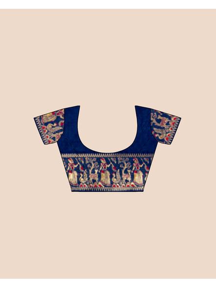 Baluchari Silk Blend Saree with Blouse Piece (Blue)-3