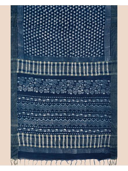 Bhagalpuri Handwoven Bhagalpuri Indigo Linen Saree with Blouse Piece-3