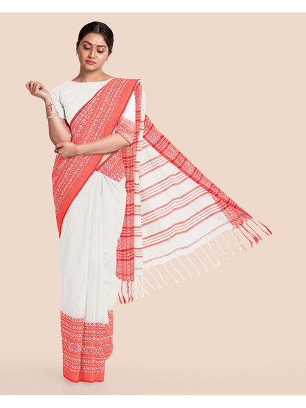 Red White Handwoven Khadi Cotton Begumpuri Mahapaar Saree with Blouse Piece-LAAHKBSWBP002