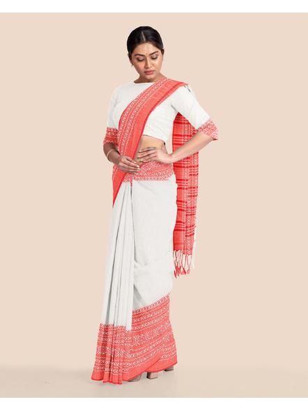 Red White Handwoven Khadi Cotton Begumpuri Mahapaar Saree with Blouse Piece-White-Khadi Cotton-Free-Female-Adult-1