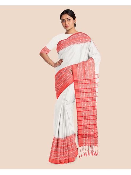 Red White Handwoven Khadi Cotton Begumpuri Mahapaar Saree with Blouse Piece-White-Khadi Cotton-Free-Female-Adult-2