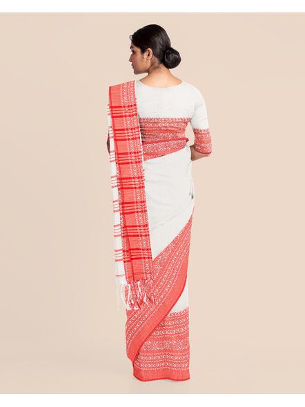 Red White Handwoven Khadi Cotton Begumpuri Mahapaar Saree with Blouse Piece-White-Khadi Cotton-Free-Female-Adult-4